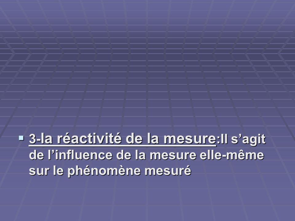 3- la réactivité de la mesure :Il sagit de linfluence de la mesure elle-même sur le phénomène mesuré 3- la réactivité de la mesure :Il sagit de linflu