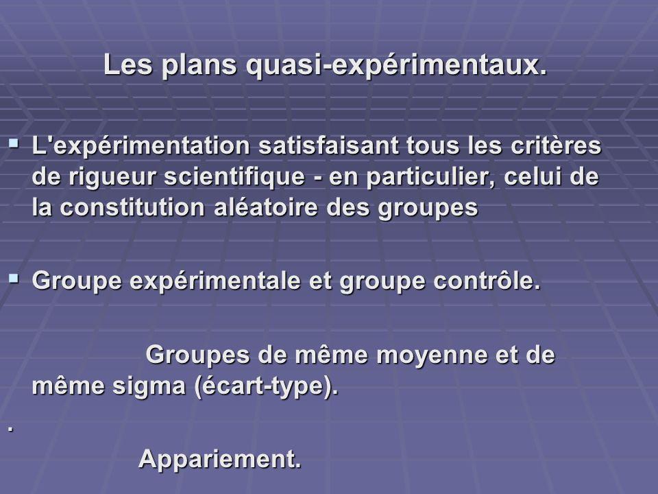 Les plans quasi-expérimentaux. L'expérimentation satisfaisant tous les critères de rigueur scientifique - en particulier, celui de la constitution alé
