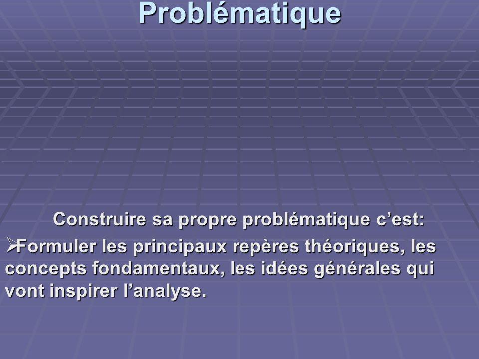 Problématique Construire sa propre problématique cest: Formuler les principaux repères théoriques, les concepts fondamentaux, les idées générales qui