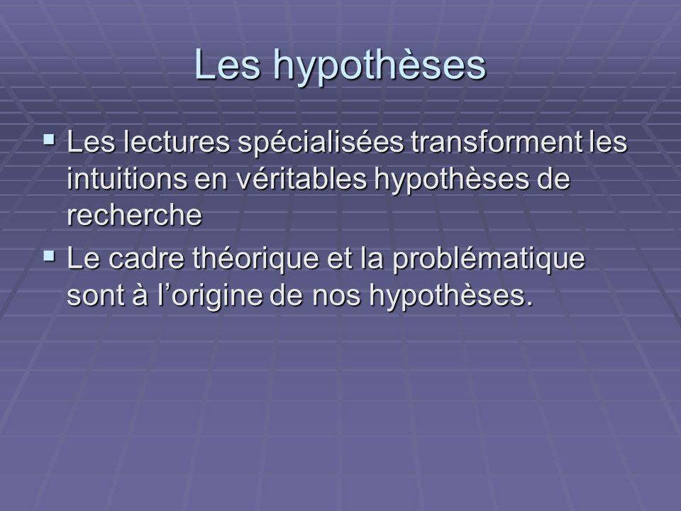 Les hypothèses Les lectures spécialisées transforment les intuitions en véritables hypothèses de recherche Les lectures spécialisées transforment les