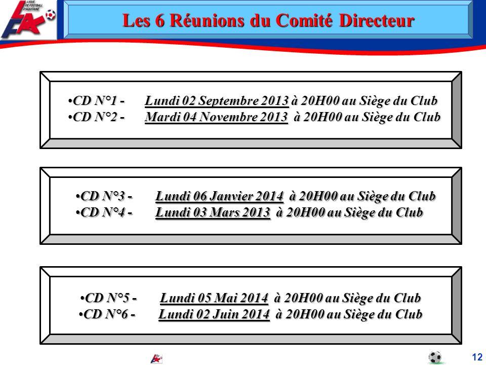 12 CD N°1 - Lundi 02 Septembre 2013 à 20H00 au Siège du ClubCD N°1 - Lundi 02 Septembre 2013 à 20H00 au Siège du Club CD N°2 - Mardi 04 Novembre 2013