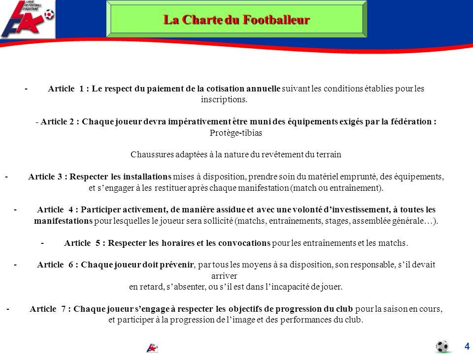 La Charte du Footballeur 4 -Article 1 : Le respect du paiement de la cotisation annuelle suivant les conditions établies pour les inscriptions. - Arti