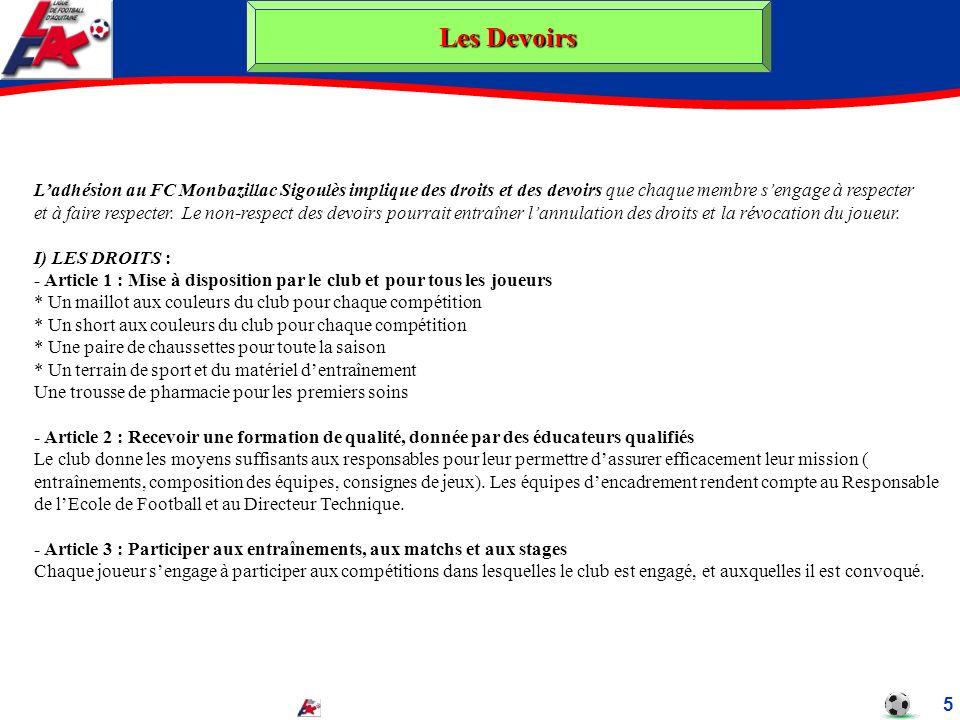 Les Devoirs 5 Ladhésion au FC Monbazillac Sigoulès implique des droits et des devoirs que chaque membre sengage à respecter et à faire respecter. Le n