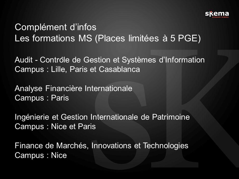 Complément dinfos Les formations MS (Places limitées à 5 PGE) Audit - Contro ̂ le de Gestion et Systèmes dInformation Campus : Lille, Paris et Casabl