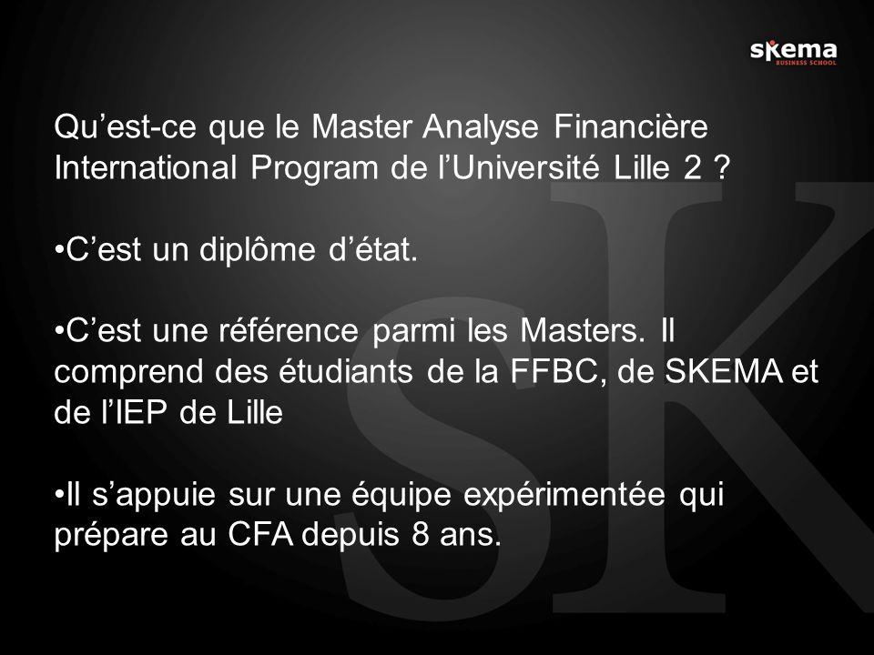 Quest-ce que le Master Analyse Financière International Program de lUniversité Lille 2 ? Cest un diplôme détat. Cest une référence parmi les Masters.