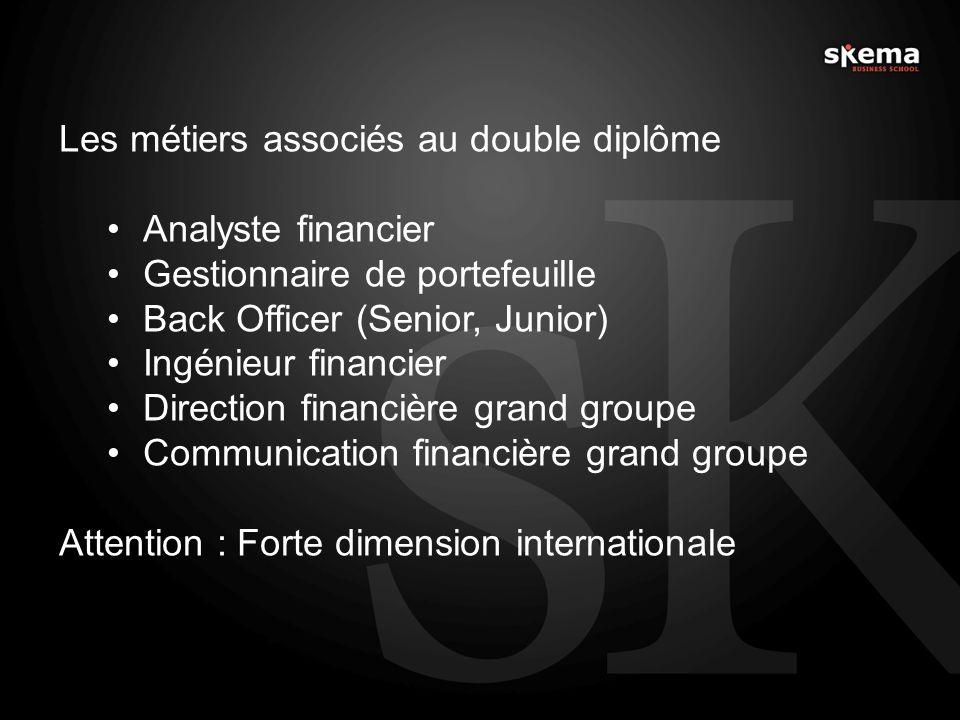 Les métiers associés au double diplôme Analyste financier Gestionnaire de portefeuille Back Officer (Senior, Junior) Ingénieur financier Direction fin