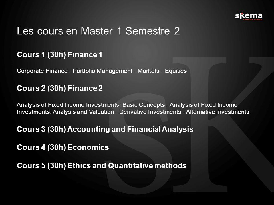 Les cours en Master 1 Semestre 2 Cours 1 (30h) Finance 1 Corporate Finance - Portfolio Management - Markets - Equities Cours 2 (30h) Finance 2 Analysi