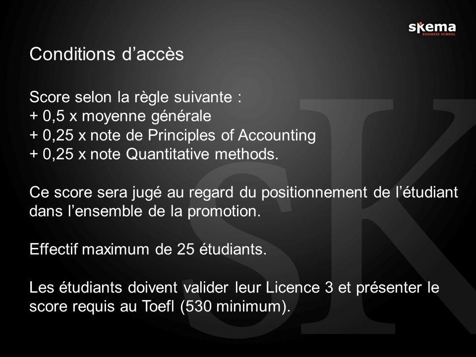 Conditions daccès Score selon la règle suivante : + 0,5 x moyenne générale + 0,25 x note de Principles of Accounting + 0,25 x note Quantitative method