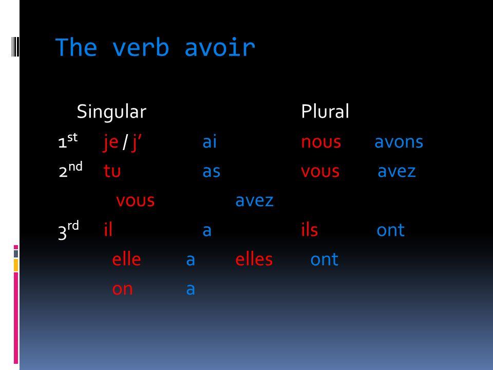 The verb avoir SingularPlural 1 st je / jai nous avons 2 nd tuasvous avez vous avez 3 rd ilails ont elle a elles ont on a