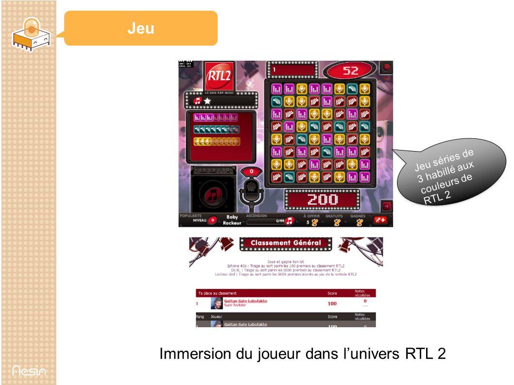 Jeu Jeu séries de 3 habillé aux couleurs de RTL 2 Immersion du joueur dans lunivers RTL 2