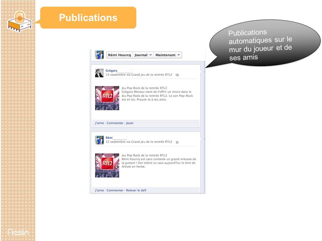 Publications Publications automatiques sur le mur du joueur et de ses amis