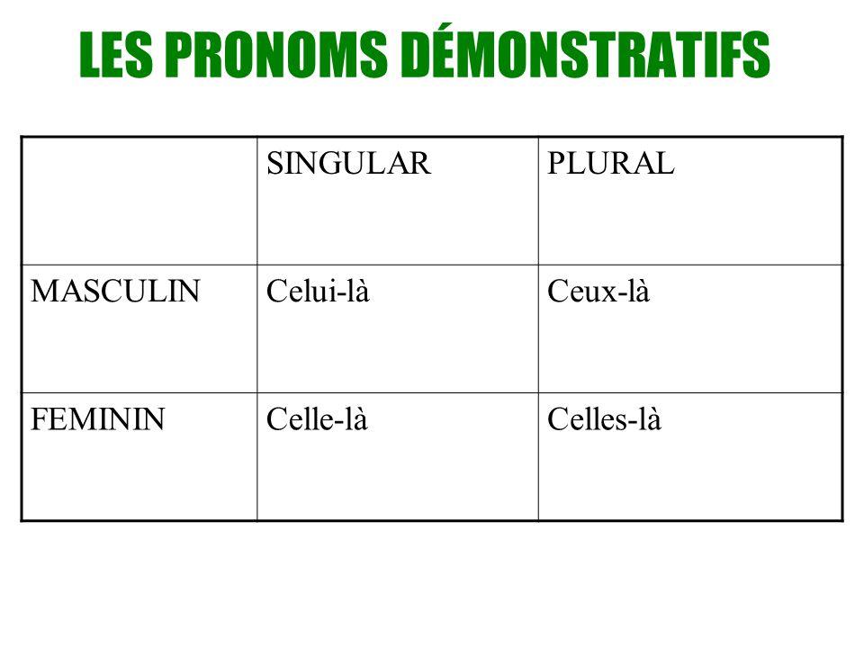 LES PRONOMS DÉMONSTRATIFS SINGULARPLURAL MASCULINCelui-làCeux-là FEMININCelle-làCelles-là