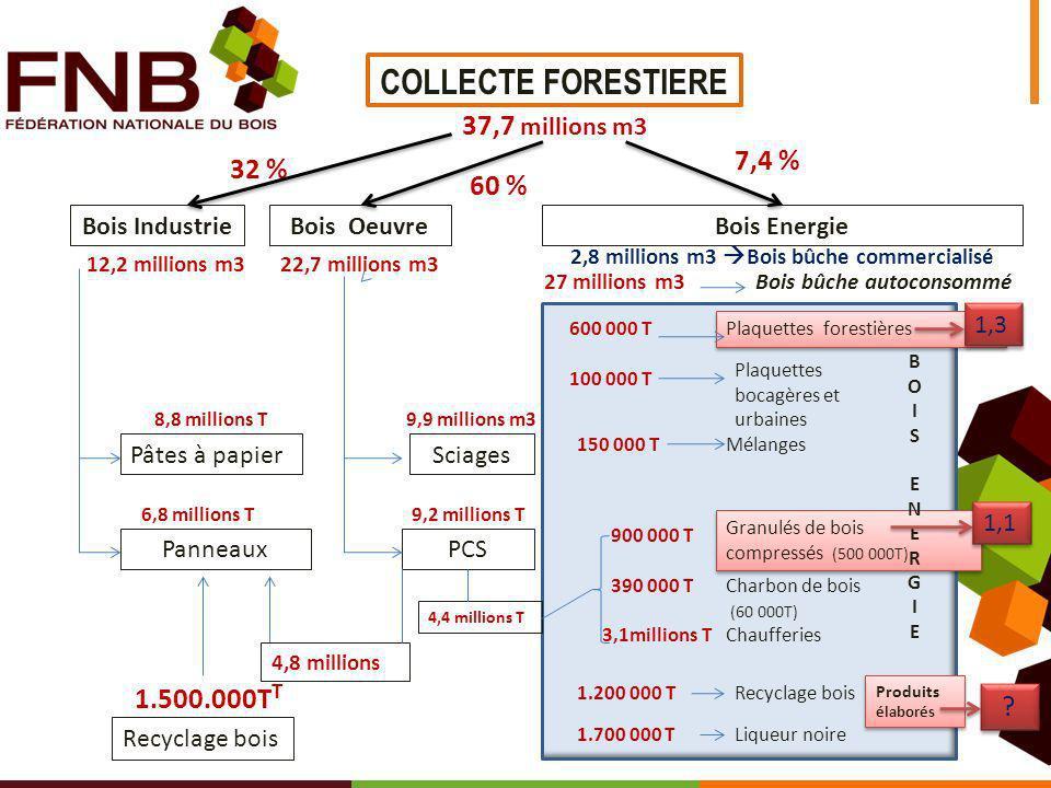 32 % 7,4 % 60 % 1.200 000 T 27 millions m3Bois bûche autoconsommé Recyclage bois PCS SciagesPâtes à papier Panneaux Bois EnergieBois Oeuvre COLLECTE F