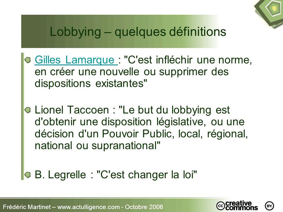 Frédéric Martinet – www.actulligence.com - Octobre 2006 Lobbying – quelques définitions Gilles Lamarque Gilles Lamarque :