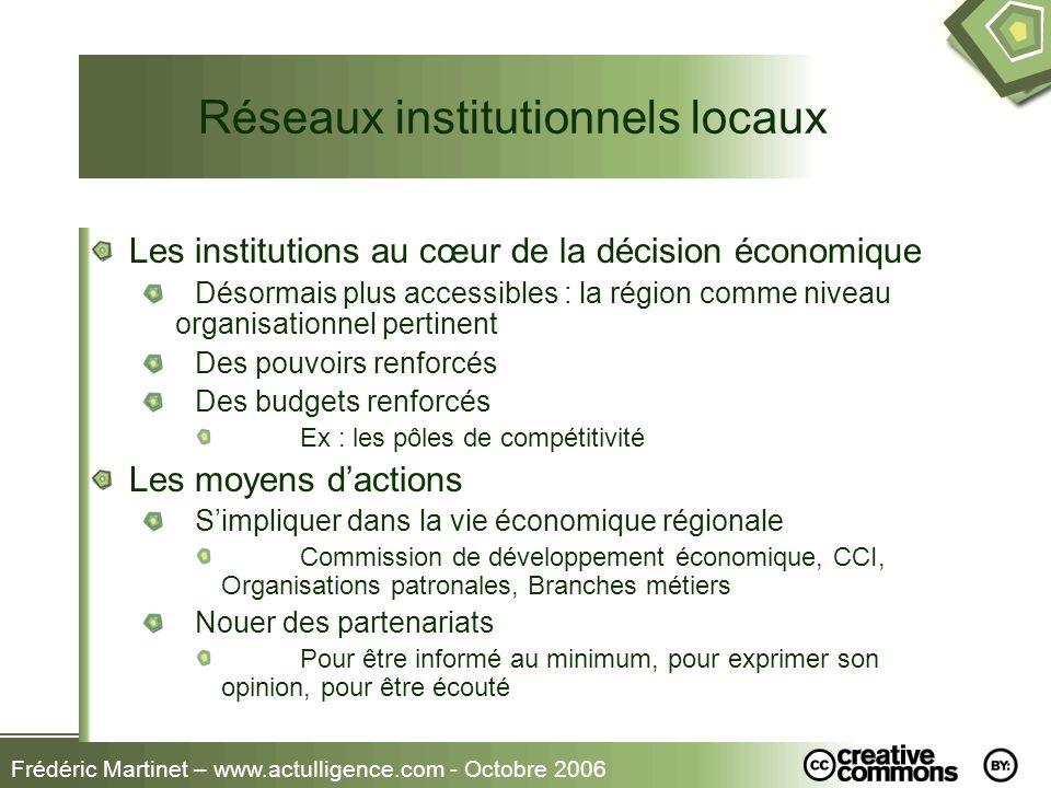 Frédéric Martinet – www.actulligence.com - Octobre 2006 Réseaux institutionnels locaux Les institutions au cœur de la décision économique Désormais pl