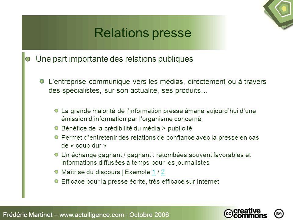 Frédéric Martinet – www.actulligence.com - Octobre 2006 Relations presse Une part importante des relations publiques Lentreprise communique vers les m