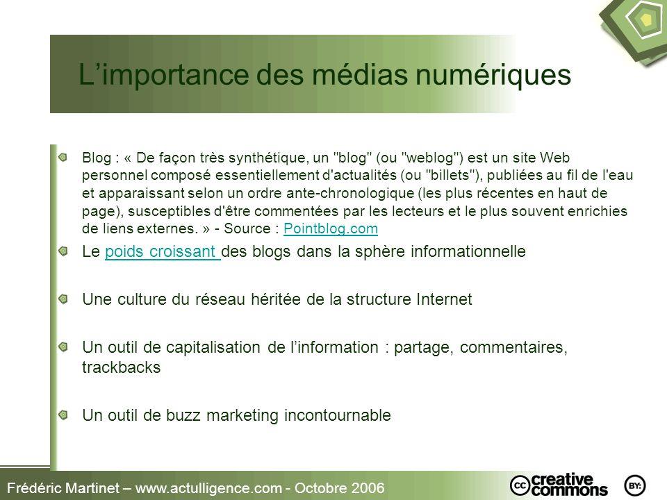 Frédéric Martinet – www.actulligence.com - Octobre 2006 Limportance des médias numériques Blog : « De façon très synthétique, un