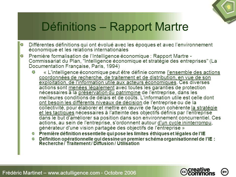 Frédéric Martinet – www.actulligence.com - Octobre 2006 Définitions - AFDIE «Lintelligence économique peut se définir comme la capacité de lentreprise à combiner efficacement les réseaux et compétences extérieures en vue de résoudre un problème productif inédit » - 1997 – G.