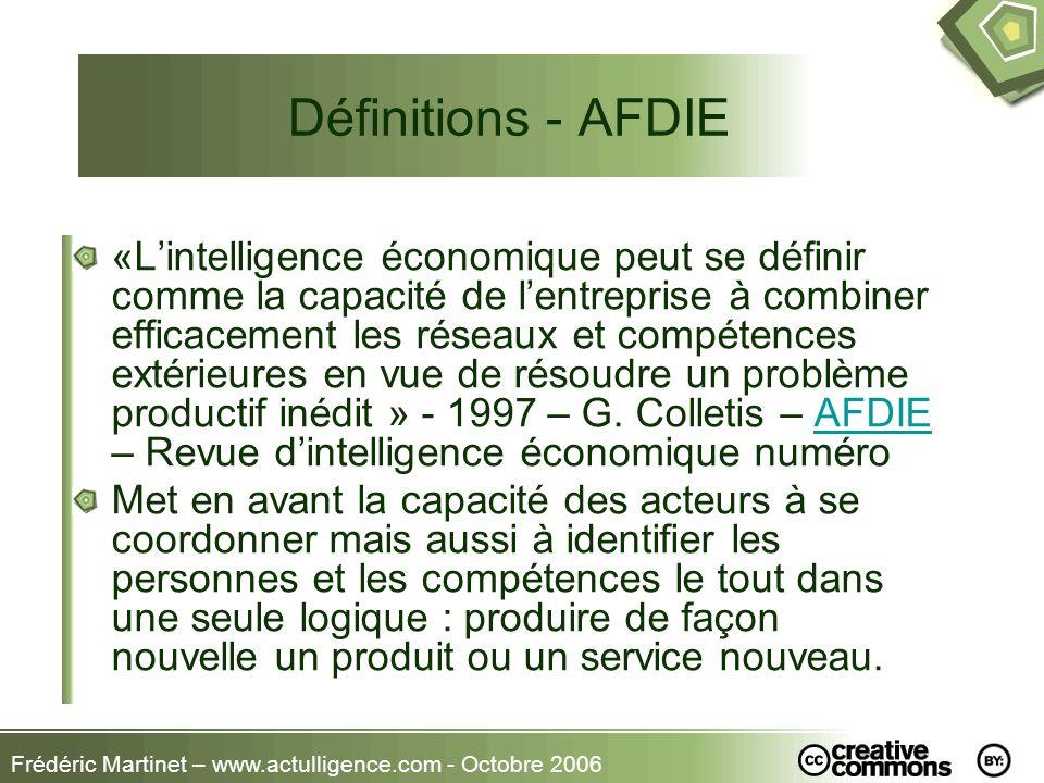 Frédéric Martinet – www.actulligence.com - Octobre 2006 Définitions - AFDIE «Lintelligence économique peut se définir comme la capacité de lentreprise