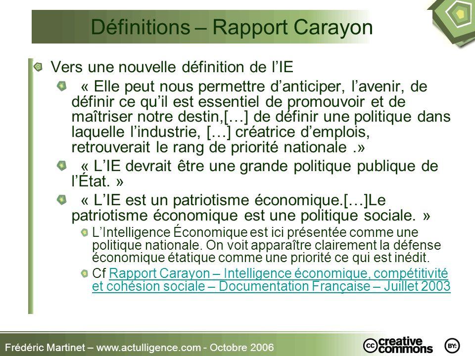 Frédéric Martinet – www.actulligence.com - Octobre 2006 Définitions – Rapport Carayon Vers une nouvelle définition de lIE « Elle peut nous permettre d
