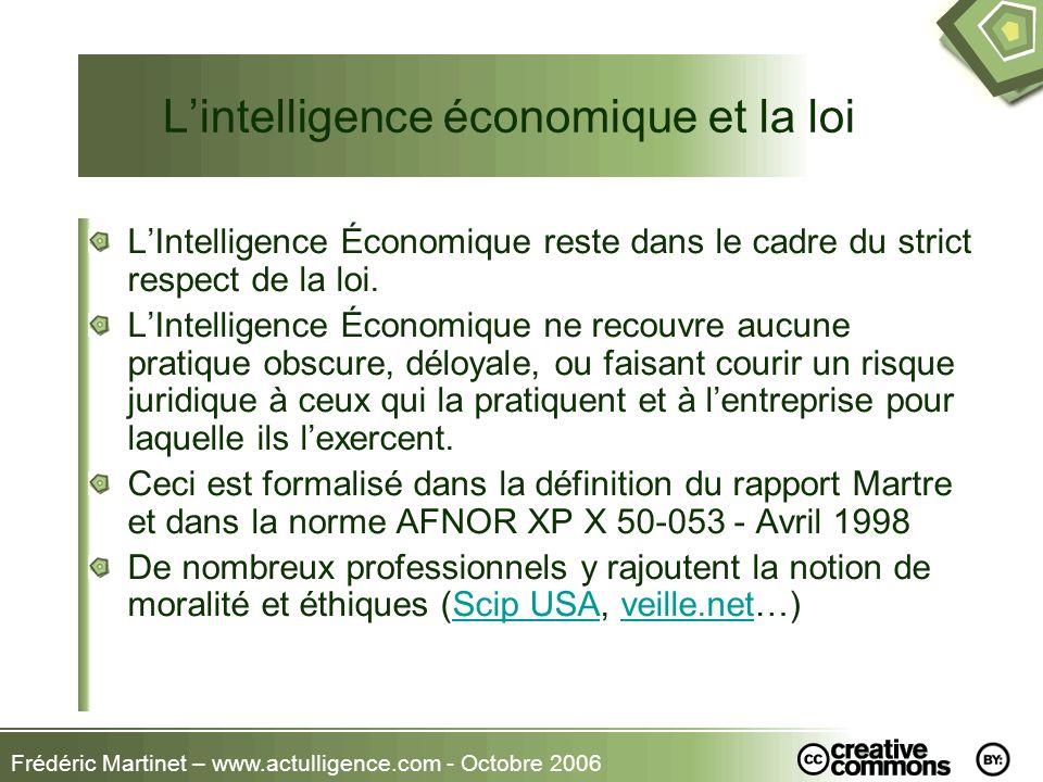 Frédéric Martinet – www.actulligence.com - Octobre 2006 Lintelligence économique et la loi LIntelligence Économique reste dans le cadre du strict resp