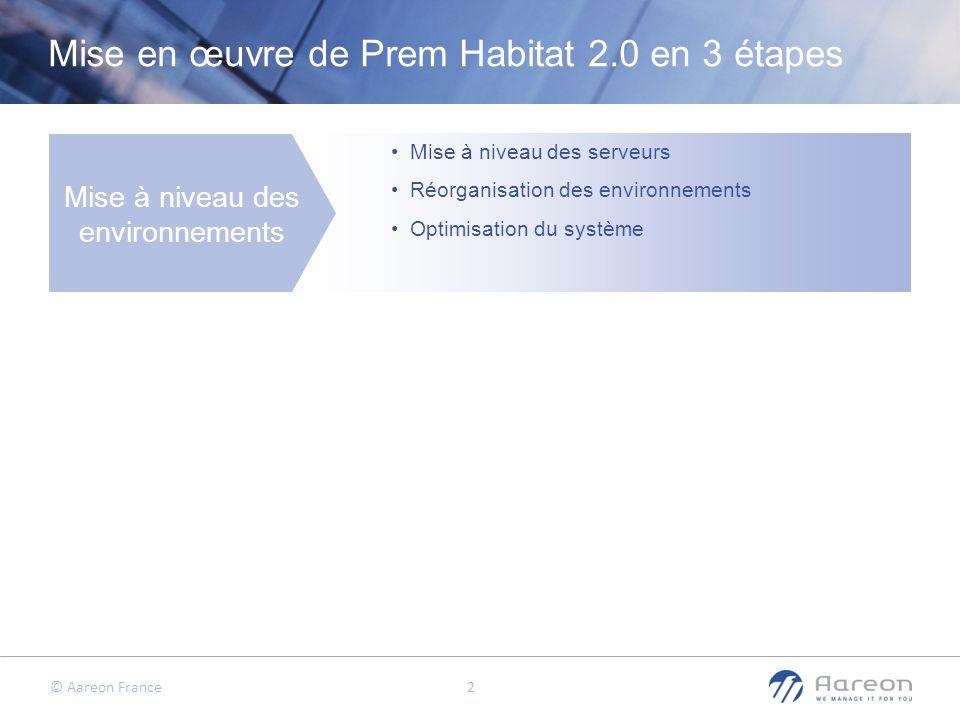 © Aareon France 3 Mise en œuvre de Prem Habitat 2.0 en 3 étapes Mise à niveau des environnements Mise en œuvre de PRH 2.0 Mise à niveau des serveurs Réorganisation des environnements Optimisation du système Installation de tous les modules de PRH 2.0 Mise en œuvre à iso périmètre Formations aux nouveautés