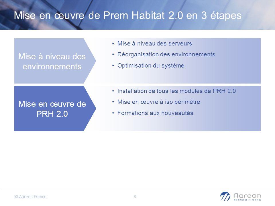 © Aareon France 4 Mise en œuvre de Prem Habitat 2.0 en 3 étapes Mise à niveau des environnements Mise en œuvre de PRH 2.0 Plan de progression fonctionnel Mise à niveau des serveurs Réorganisation des environnements Optimisation du système Installation de tous les modules de PRH 2.0 Mise en œuvre à iso périmètre Formations aux nouveautés Présentation des modules/fonctionnalités disponibles Dimensionnement du projet Mise en œuvre par tranche Bilan / Recette
