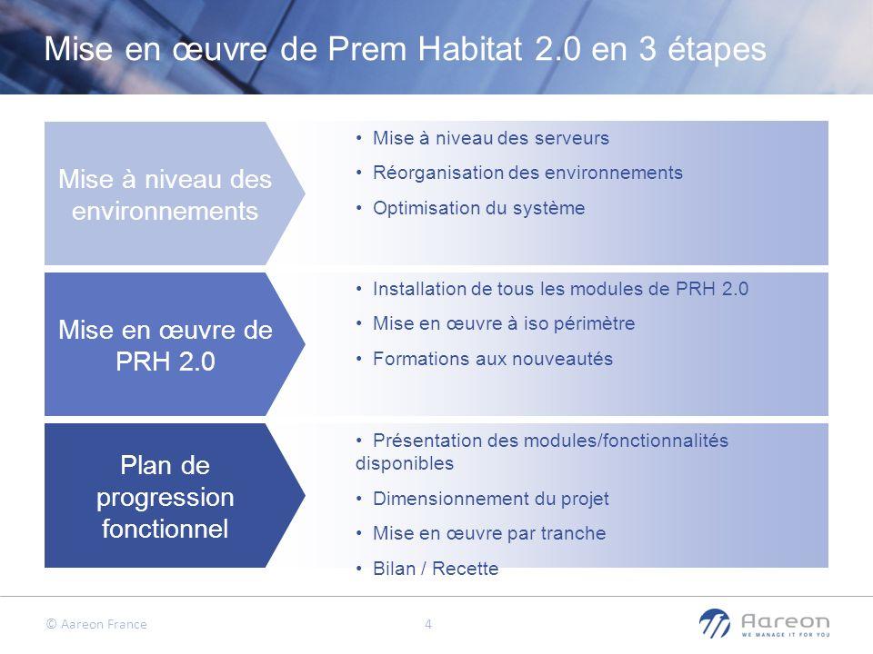 © Aareon France 4 Mise en œuvre de Prem Habitat 2.0 en 3 étapes Mise à niveau des environnements Mise en œuvre de PRH 2.0 Plan de progression fonction