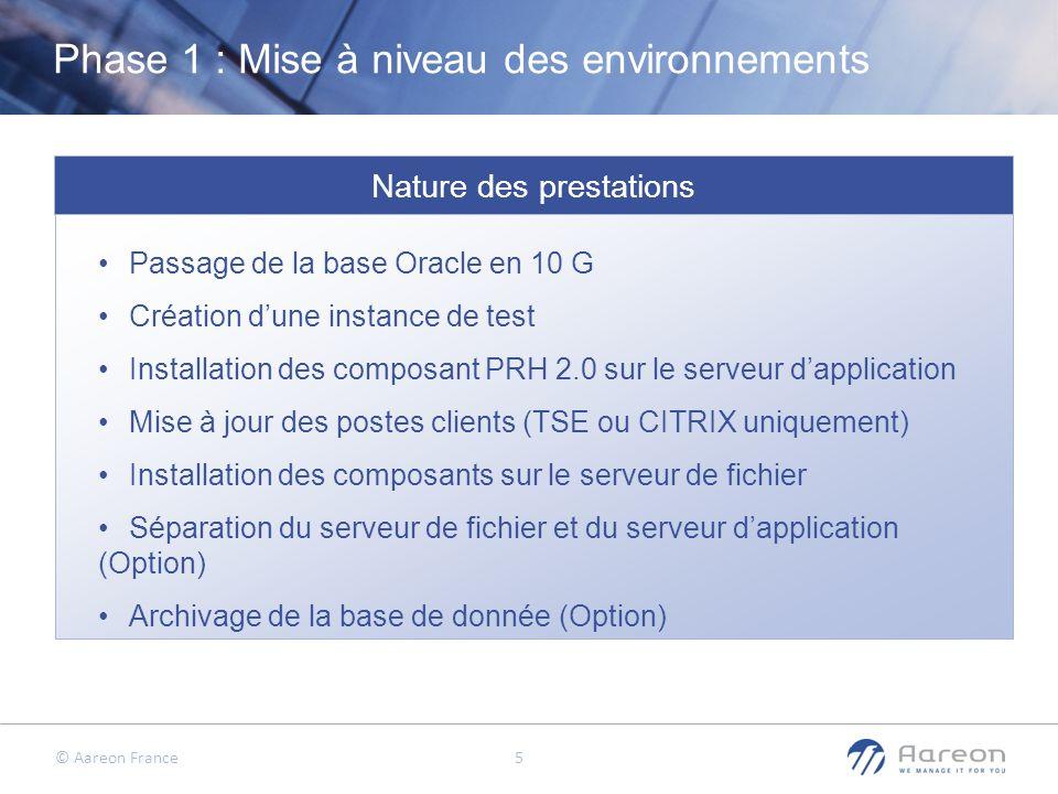 © Aareon France 5 Nature des prestations Phase 1 : Mise à niveau des environnements Passage de la base Oracle en 10 G Création dune instance de test I