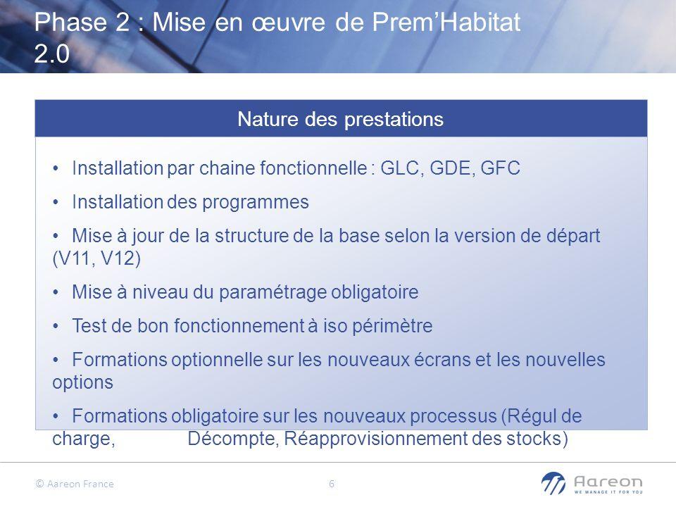 © Aareon France 6 Phase 2 : Mise en œuvre de PremHabitat 2.0 Nature des prestations Installation par chaine fonctionnelle : GLC, GDE, GFC Installation