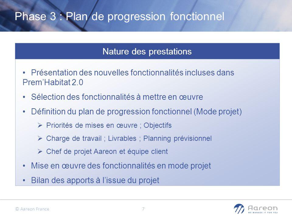 © Aareon France 7 Phase 3 : Plan de progression fonctionnel Nature des prestations Présentation des nouvelles fonctionnalités incluses dans PremHabita