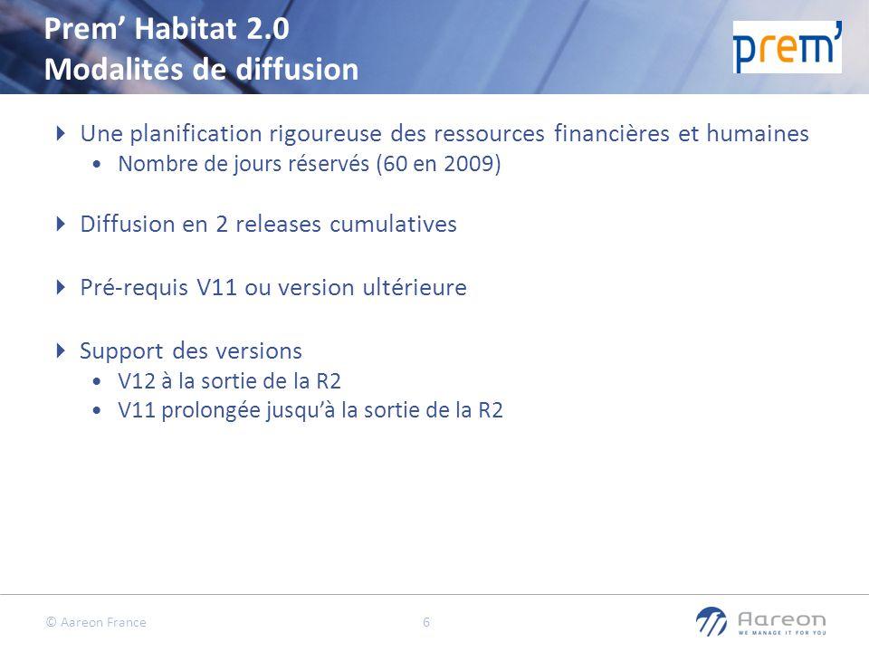 © Aareon France 7 Prem Habitat 2.0 Modalités de diffusion R2 30/09/2010 R1 30/09/2009 Nouvelle ergonomie Nouvelles fonctions métiers (cf.