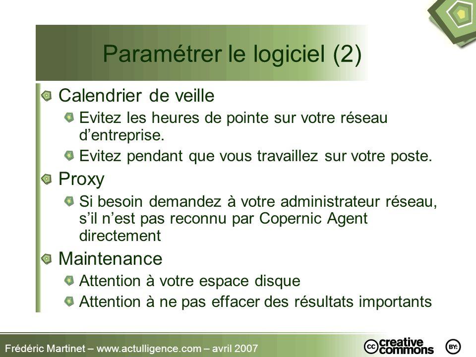 Frédéric Martinet – www.actulligence.com – avril 2007 Paramétrer le logiciel (2) Calendrier de veille Evitez les heures de pointe sur votre réseau den