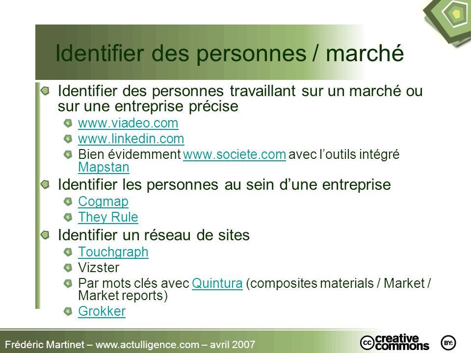 Frédéric Martinet – www.actulligence.com – avril 2007 Identifier des personnes / marché Identifier des personnes travaillant sur un marché ou sur une
