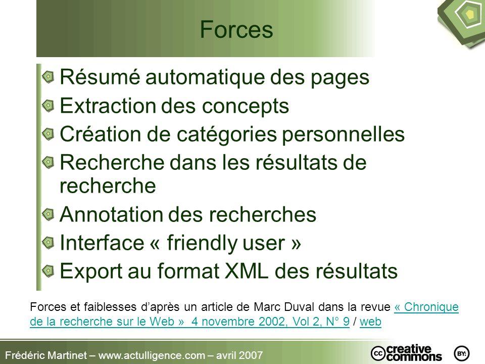 Frédéric Martinet – www.actulligence.com – avril 2007 Forces Résumé automatique des pages Extraction des concepts Création de catégories personnelles