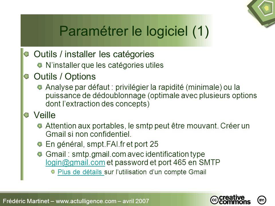Frédéric Martinet – www.actulligence.com – avril 2007 Paramétrer le logiciel (1) Outils / installer les catégories Ninstaller que les catégories utile