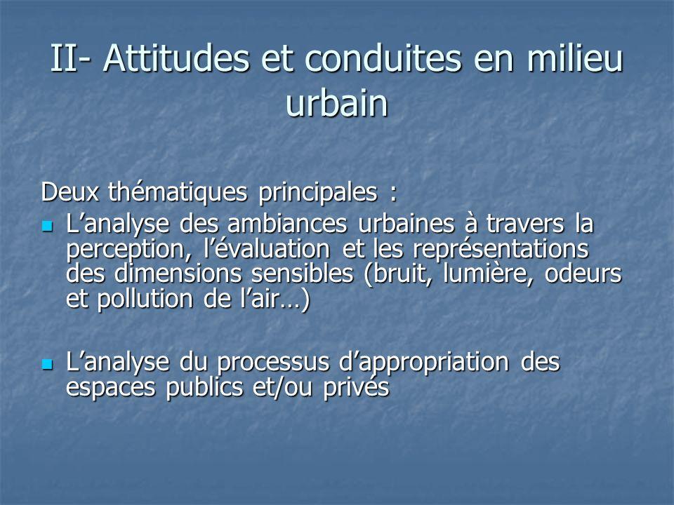 II- Attitudes et conduites en milieu urbain Deux thématiques principales : Lanalyse des ambiances urbaines à travers la perception, lévaluation et les