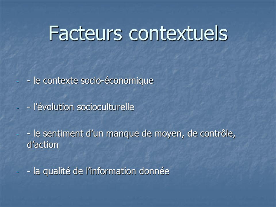 Facteurs contextuels - - le contexte socio-économique - - lévolution socioculturelle - - le sentiment dun manque de moyen, de contrôle, daction - - la