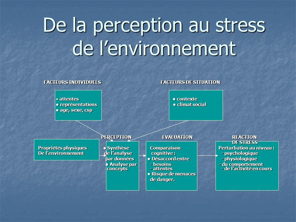 De la perception au stress de lenvironnement FACTEURS INDIVIDUELS FACTEURS DE SITUATION FACTEURS INDIVIDUELS FACTEURS DE SITUATION attentes contexte a