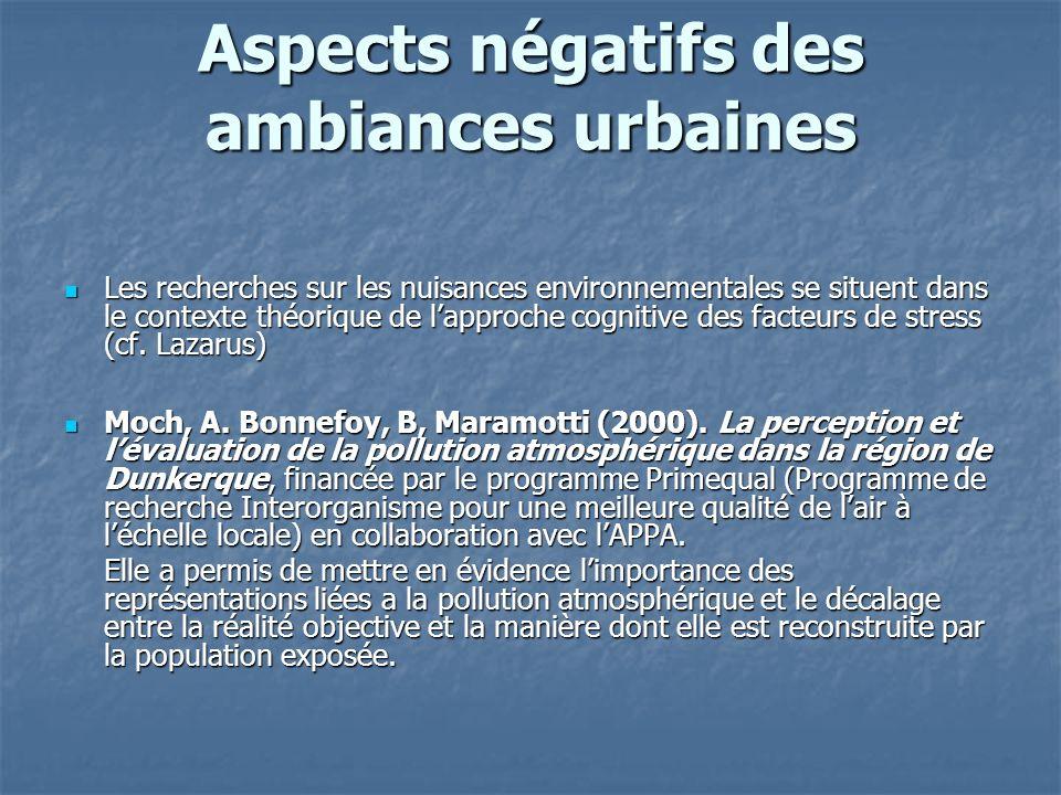 Aspects négatifs des ambiances urbaines Les recherches sur les nuisances environnementales se situent dans le contexte théorique de lapproche cognitiv