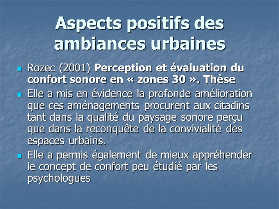 Aspects positifs des ambiances urbaines Rozec (2001) Perception et évaluation du confort sonore en « zones 30 ». Thèse Rozec (2001) Perception et éval