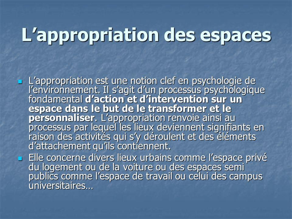 Lappropriation des espaces Lappropriation est une notion clef en psychologie de lenvironnement. Il sagit dun processus psychologique fondamental dacti
