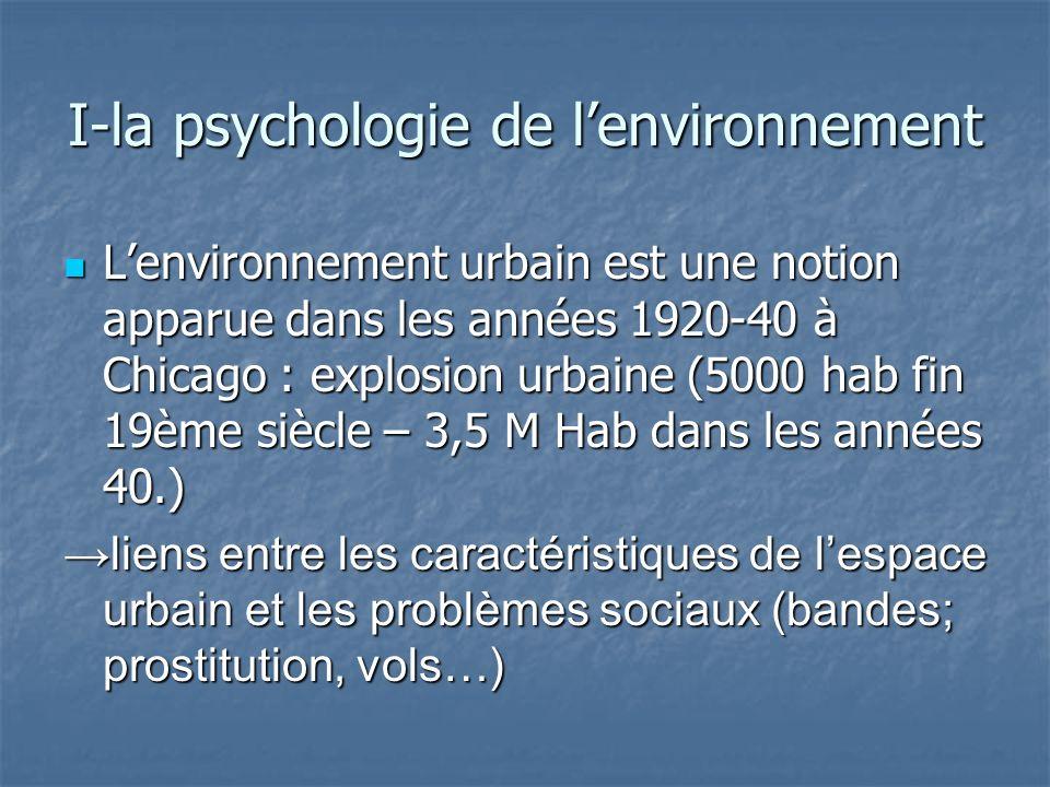 Lenvironnement urbain est une notion apparue dans les années 1920-40 à Chicago : explosion urbaine (5000 hab fin 19ème siècle – 3,5 M Hab dans les ann