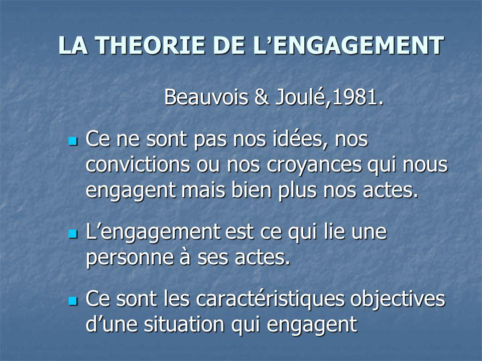LA THEORIE DE L ENGAGEMENT Beauvois & Joulé,1981. Ce ne sont pas nos idées, nos convictions ou nos croyances qui nous engagent mais bien plus nos acte