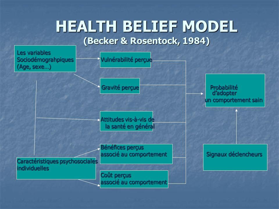 HEALTH BELIEF MODEL (Becker & Rosentock, 1984) Les variables Sociodémograhpiques Vulnérabilité perçue (Age, sexe…) Gravité perçue Probabilité dadopter