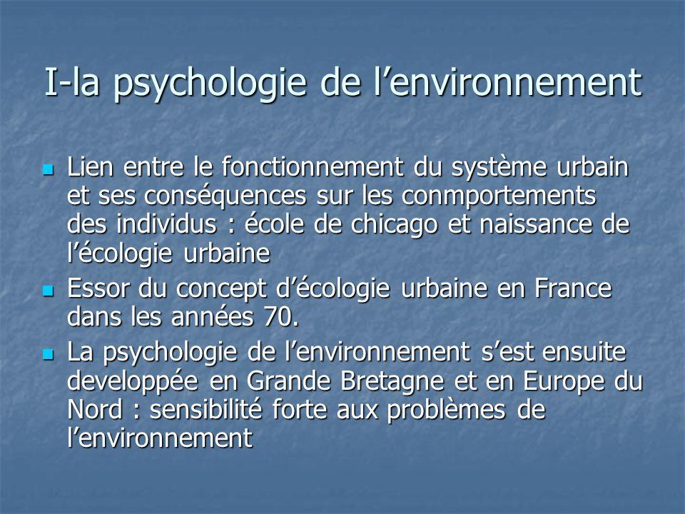 I-la psychologie de lenvironnement Lewin a mis en évidence linterdépendance entre la personne et son environnement en montrant le rôle structurant de lespace comme champ de valeurs Lewin a mis en évidence linterdépendance entre la personne et son environnement en montrant le rôle structurant de lespace comme champ de valeurs Merleau-Ponty (1976): espace vécu et espace perçu Merleau-Ponty (1976): espace vécu et espace perçu Ittelson (1978) définit la psychologie de lenvironnement comme « létude du comportement humain en relation à lenvironnement défini et ordonné par lhomme » Ittelson (1978) définit la psychologie de lenvironnement comme « létude du comportement humain en relation à lenvironnement défini et ordonné par lhomme »