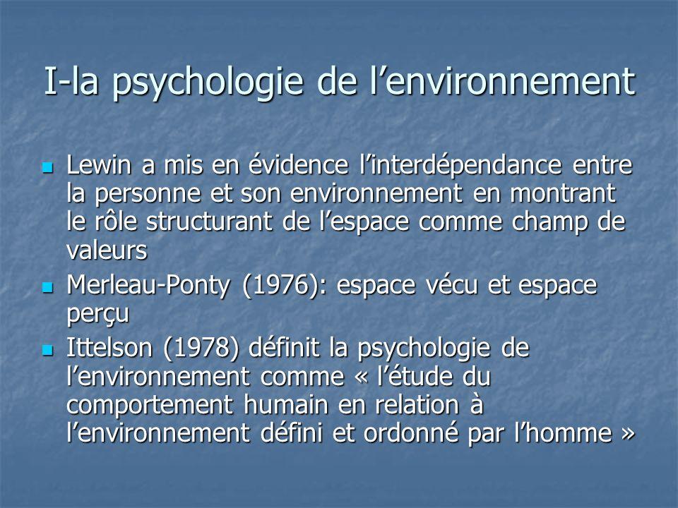 I-la psychologie de lenvironnement Lewin a mis en évidence linterdépendance entre la personne et son environnement en montrant le rôle structurant de