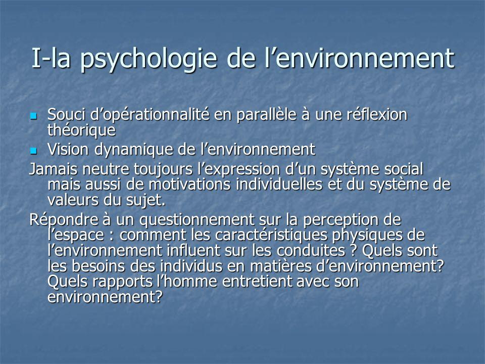 I-la psychologie de lenvironnement Souci dopérationnalité en parallèle à une réflexion théorique Souci dopérationnalité en parallèle à une réflexion t