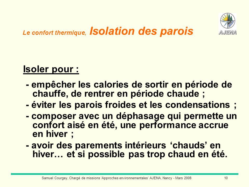 Samuel Courgey, Chargé de missions Approches environnementales AJENA, Nancy - Mars 200810 Le confort thermique, Isolation des parois Isoler pour : - e