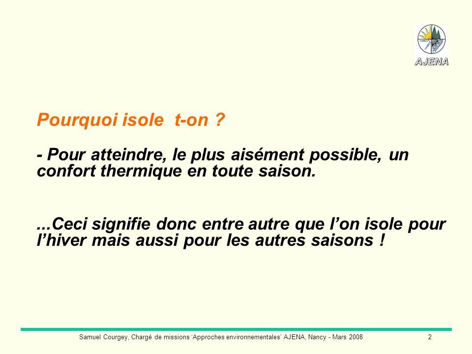 Samuel Courgey, Chargé de missions Approches environnementales AJENA, Nancy - Mars 20083 Quatre critères interviennent dans le confort thermique : - la température de lair ; - la température des parois ; - le mouvement de lair ; - lhumidité de lair.